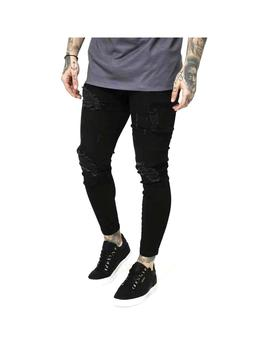 Pantalon Siksilk Distressed Skinny Jeans Black Hom