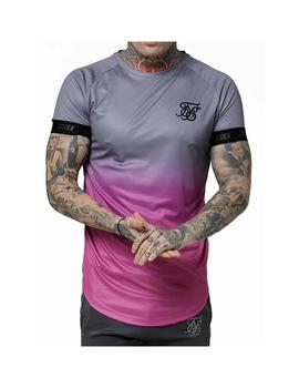 Camiseta SikSilk s/s Fade Out Tech Gris/Rosa Hombre