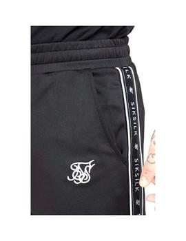 Pantalon SikSilk Fitted Panel Track Negro Hombre