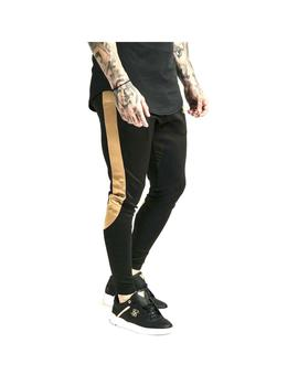 Pantalon SikSilk Scope Satin Panel Track Negro Hombre