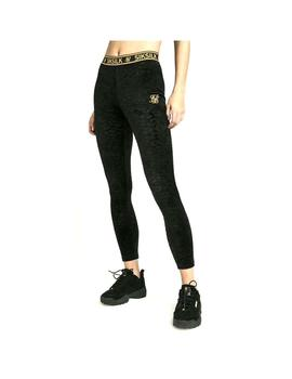 Pantalon SikSilk Debossed Velour Leggins Negro Mujer