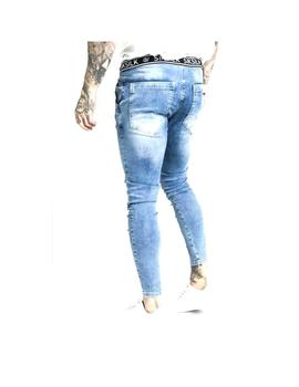 Pantalon Siksilk Elasticated Waist Skinny Distress Azul Homb