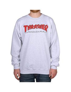 Sudadera Thrasher Outlined Ash Grey Red Hombre