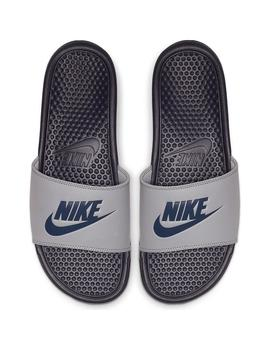 Chanclas Nike Benassi Jdi Wolf Grey/Midnight Navy Hombre