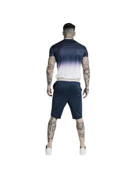 Camiseta SikSilk S/S Fade Inset Tape Gym Tee Azul Hombre