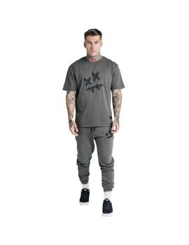 Sudadera SikSilk x Steve Aoki Essential Washed Gris Hombre