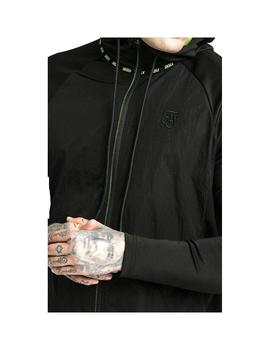 Chaqueta SikSilk Adapt Crushed Nylon Zip Through Black Hombr